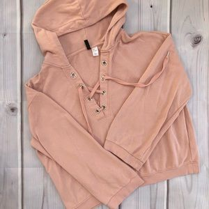 Pink lace-up hoodie